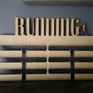 "MDF Medal Holder for all activities and sports. Reads ""Running"" along the top in cut out lettering and features a running figure beside the word. Brought to you by Irish Craft Shapes Supplier The Craft Collection"
