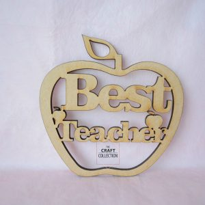 "Teacher Craft Shapes, Best Teacher Hanging Apple craft shapes End of Term Teacher Gifts, laser cut wooden mdf apple shape with the words ""Best Teacher"" cut out decorated with small apple shapes. Against a pink background, by laser craft shapes supplier Ireland , The Craft Collection"