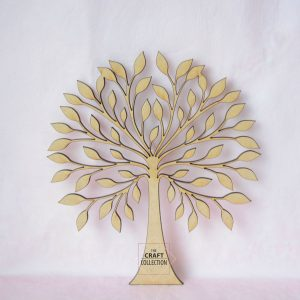 Symmetrical Leafy MDF Family Tree, a laser cut wooden tree craft shape against a pink background by craft shapes ireland supplier The Craft Collection
