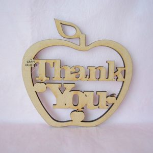 "Teacher Craft Shapes, Thank You Hanging Apple craft shapes End of Term Teacher Gifts, laser cut wooden mdf apple shape with the words ""Best Teacher"" cut out decorated with small apple shapes. Against a pink background, by laser craft shapes supplier Ireland , The Craft Collection"