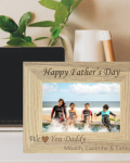 """We Love You Daddy Photo Frame is a personalised laser engraved photo frame that reads """"Happy Father's Day We Love You Daddy"""""""