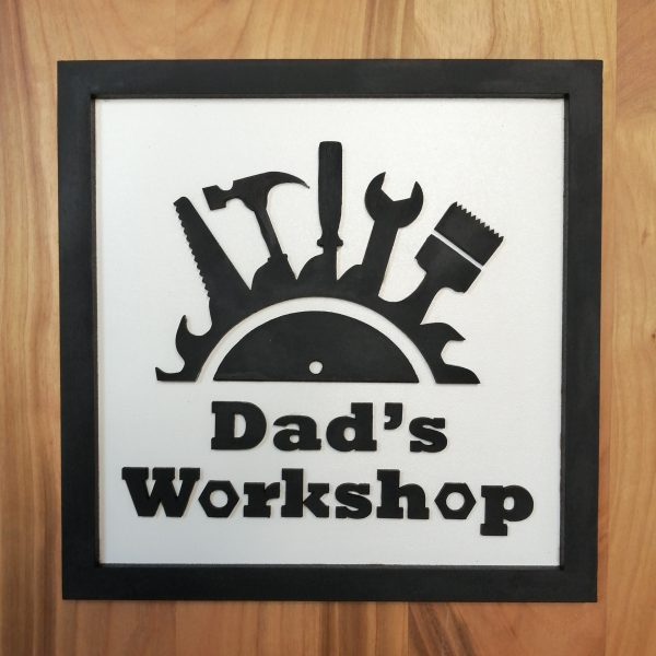 """Dad's Workshop Wall Sign - Personalised Father's Day Gifts Ireland. A Black and White 3D square sign featuring a tool motif and reads """"Dad's Workshop"""""""